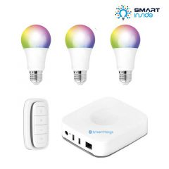 Aurora AOne Smart Lighting Starter Kit - 3 x RGBW ES/E27 Lamp, 1 x Smart Remote & Samsung SmartThings Hub
