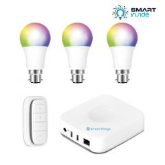 Aurora AOne Smart Lighting Starter Kit - 3 x RGBW BC/B22 Lamp, 1 x Smart Remote & Samsung SmartThings Hub