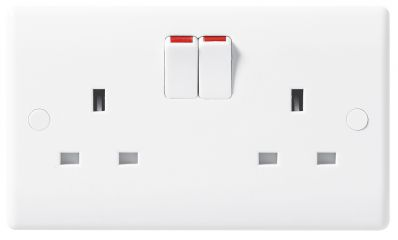 BG 822DP Nexus Moulded White 2 Gang 13 Amp Double Pole Switched Socket