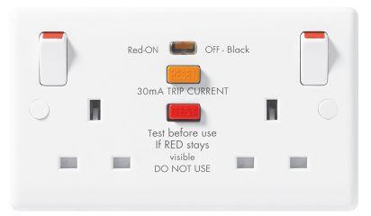 BG 822RCD Nexus Moulded White 2 Gang 13 Amp RCD Socket