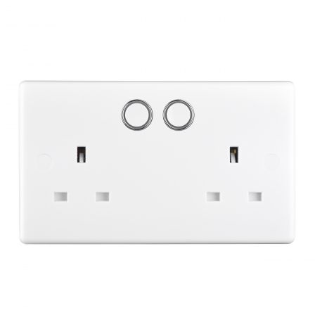 BG 822/HC Nexus Moulded White Smart Power 2 Gang 13A Switched Socket