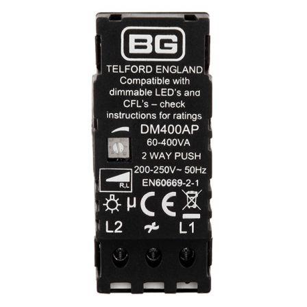 BG DM400AP Rotary LED Dimmer Module 2 Way Push On/Off