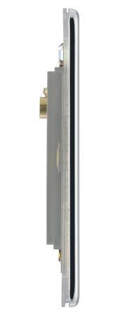 BG Flatplate Screwless FPCEMS2 Polished Chrome 1 Gang Euro Module Plate, 2 Module