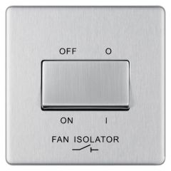 BG Flatplate Screwless FBS15 Brushed Steel 10AX 3 Pole Fan Isolator Switch