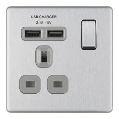 BG Flatplate Screwless FBS21U2G Brushed Steel 13A 1 Gang Switched Socket USB 2.1A