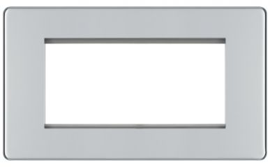BG Flatplate Screwless FPCEMR4 Polished Chrome 2 Gang Euro Module Plate, 4 Module