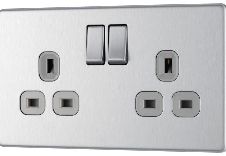BG Flatplate Screwless FBS22G Brushed Steel 13A 2 Gang Switched Socket