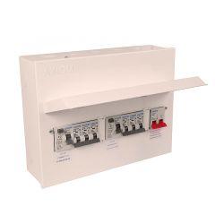 CED Axiom MSLRRM44CB 8 Ways Dual RCD & Main Switch Consumer Unit c/w 6 x MCB