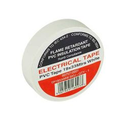 Flame Retardant PVC Insulation Tape 19x33m White