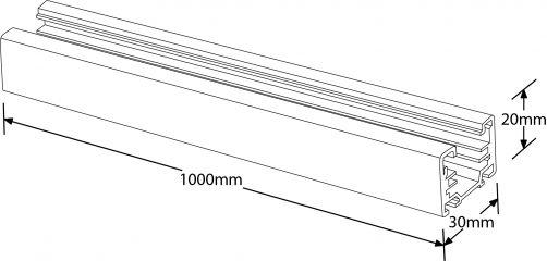 Aurora #GB2100-3 Trac Global 1 Meter Single Circuit Track White