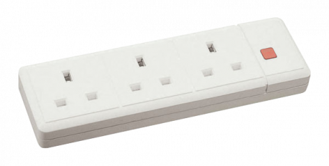 Scolmore Essentials ES008 3 Gang 13A Trailing Socket with Neon