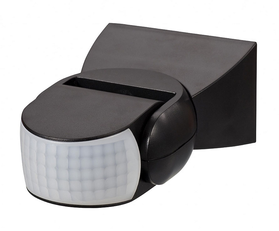 ZN-26592-BLK 180° Wall Mount Pir Motion Sensor Black Zinc