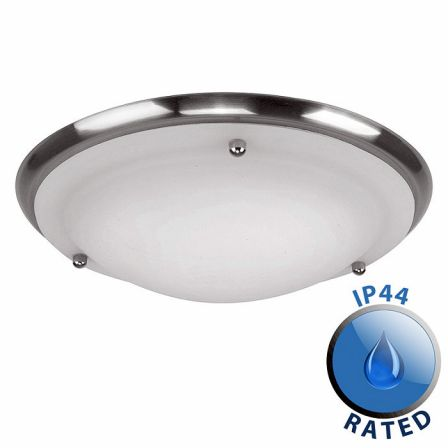 Minisun 13203 IP44 Flush Ceiling Light Satin Nickel