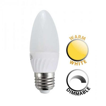 Minisun 20671 4W Dimmable LED ES/E27 Frosted Candle Lamp Warm White