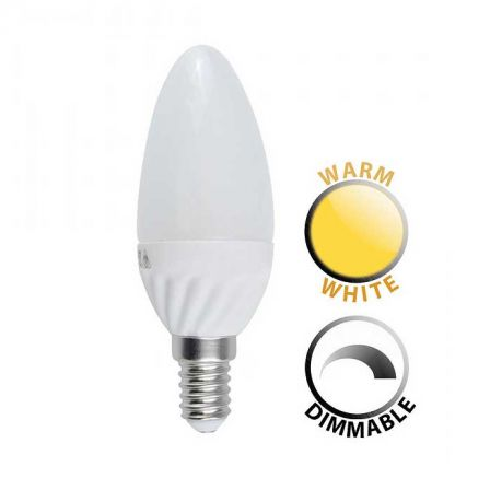 Minisun 20675 5W Dimmable LED SES/E14 Frosted Candle Lamp Warm White