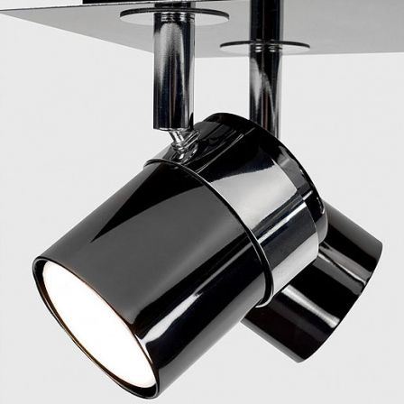 Minisun 20856 Rosie Adjustable Rectangle 6 Way Spotlight Black Chrome