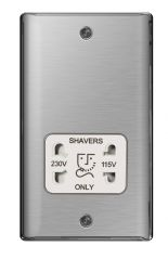 BG Nexus Metal NBS20W Brushed Steel Shaver Socket 115/230V White Trim