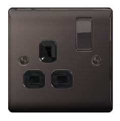BG Nexus Metal NBN21B Black Nickel 13A 1 Gang Switched Socket