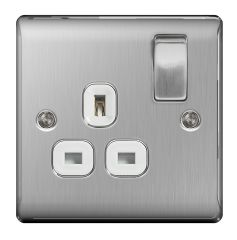 BG Nexus Metal NBS21W Brushed Steel 13A 1 Gang Switched Socket White Trim