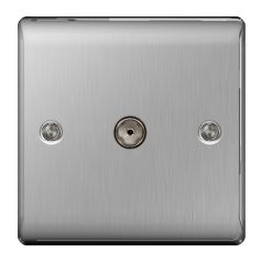 BG Nexus Metal NBS60 Brushed Steel 1 Gang Co-axial Socket