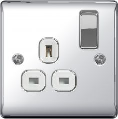BG Nexus Metal NPC21W Polished Chrome 13A 1 Gang Switched Socket White Trim