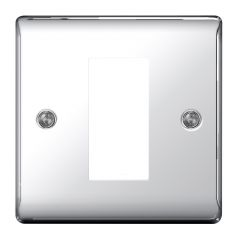 BG Nexus Metal NPCEMS1 Polished Chrome 1 Gang Euro Module Plate, 1 Module