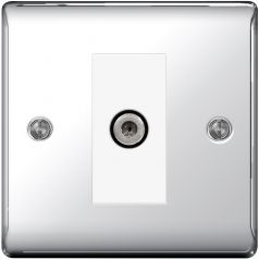 BG Nexus Metal NPC64 Polished Chrome 1 Gang Satellite Socket