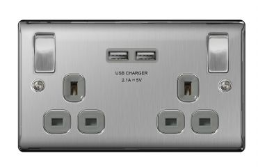 BG Nexus Metal NBS22U3G Brushed Steel 13A 2 Gang Switched Socket + USB Grey Trim 3.1A