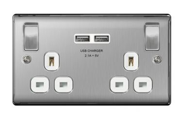 BG Nexus Metal NBS22U3W Brushed Steel 13A 2 Gang Switched Socket + USB White Trim 3.1A