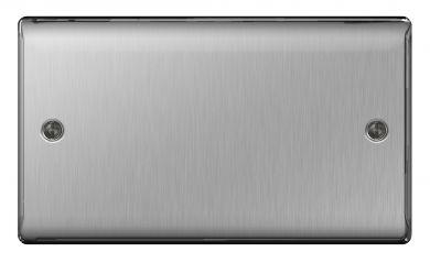 BG Nexus Metal NBS95 Brushed Steel 2 Gang Blank Plate