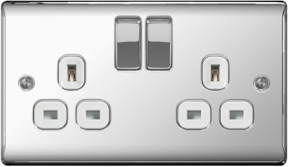 BG Nexus Metal NPC22W Polished Chrome 2 Gang Switched Socket White Trim