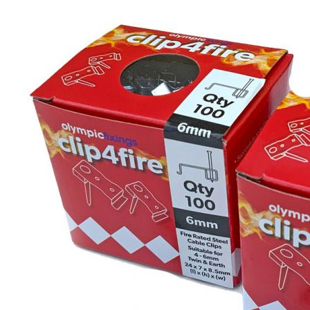 Olympic Clip4Fire Rated 4-6mm T&E Steel Flat Clips - Pack 100