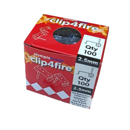 Olympic Clip4Fire Rated 1-2.5mm T&E Steel Flat Clips - Pack 100