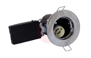 Pecstar Fire Cloak Pressed Steel Polished Chrome Fixed Fire Rated Downlight