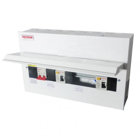 Pecstar Amendment 3 17th Ed 8 Ways Metal Clad Consumer Unit Dual RCD