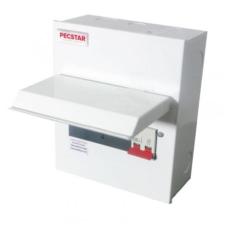 Pecstar Amendment 3 6 Ways Metal Clad Consumer Unit c/w 100A DP Main Isolator