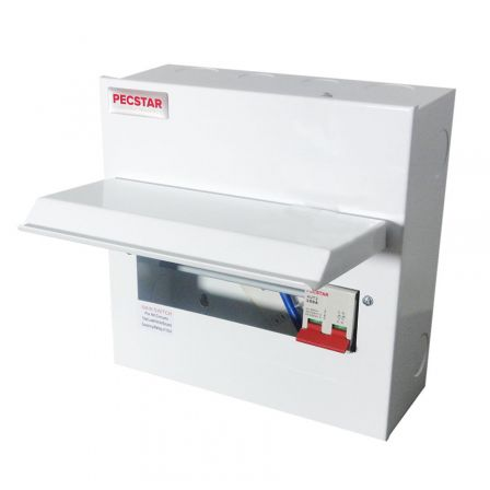 Pecstar Amendment 3 8 Ways Metal Clad Consumer Unit c/w 100A DP Main Isolator