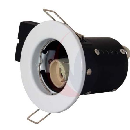 Pecstar Fire Cloak Pressed Steel White Fixed Fire Rated Downlight