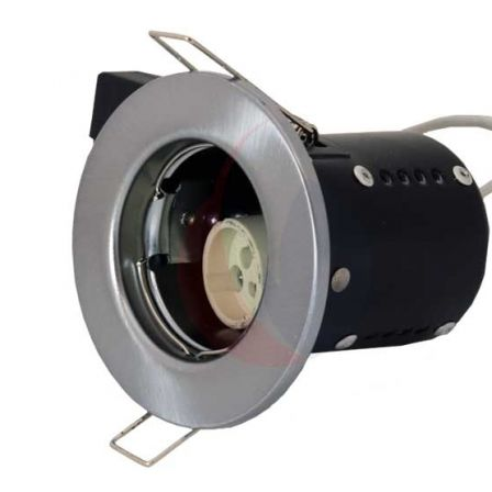 Pecstar Fire Cloak Pressed Steel Satin Chrome Fixed Fire Rated Downlight