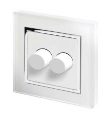 Retrotouch 02060 Crystal CT 2 Gang Rotary LED Dimmer 2 Way White