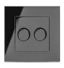 Retrotouch 02063 Crystal 2 Gang Rotary LED Dimmer 2 Way Black