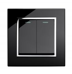 Retrotouch 00221 Mechanical Light Switch 2 Gang Black CT