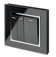 Retrotouch 00242 Mechanical Light Switch 3 Gang Intermediate Black CT
