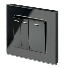 Retrotouch 00244 Mechanical Light Switch 3 Gang Intermediate Black PG
