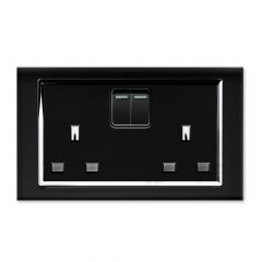 Retrotouch 00661 13A DP Double Plug Socket with Switch Black CT
