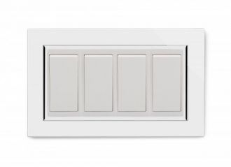 Retrotouch 04503 Mechanical Light Switch 4 Gang 2 Way Double Plate White CT