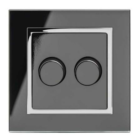 Retrotouch 02061 Crystal CT 2 Gang Rotary LED Dimmer 2 Way Black