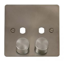 Scolmore Click Define FPBS152PL 2 Gang Dimmer Plate and Knob