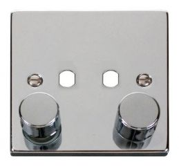 Scolmore Click Deco VPCH152PL 2 Gang Dimmer Plate and Knob