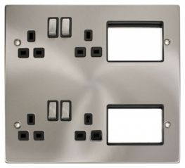 Scolmore Click New Media MP606SCBK 4 x 13A DP Switched Sockets, 2x3 New Media Module Apertures